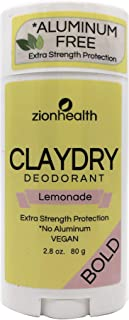 Zion Health Clay Dry Bold Deodorant Stick 2.8 oz Lemonade