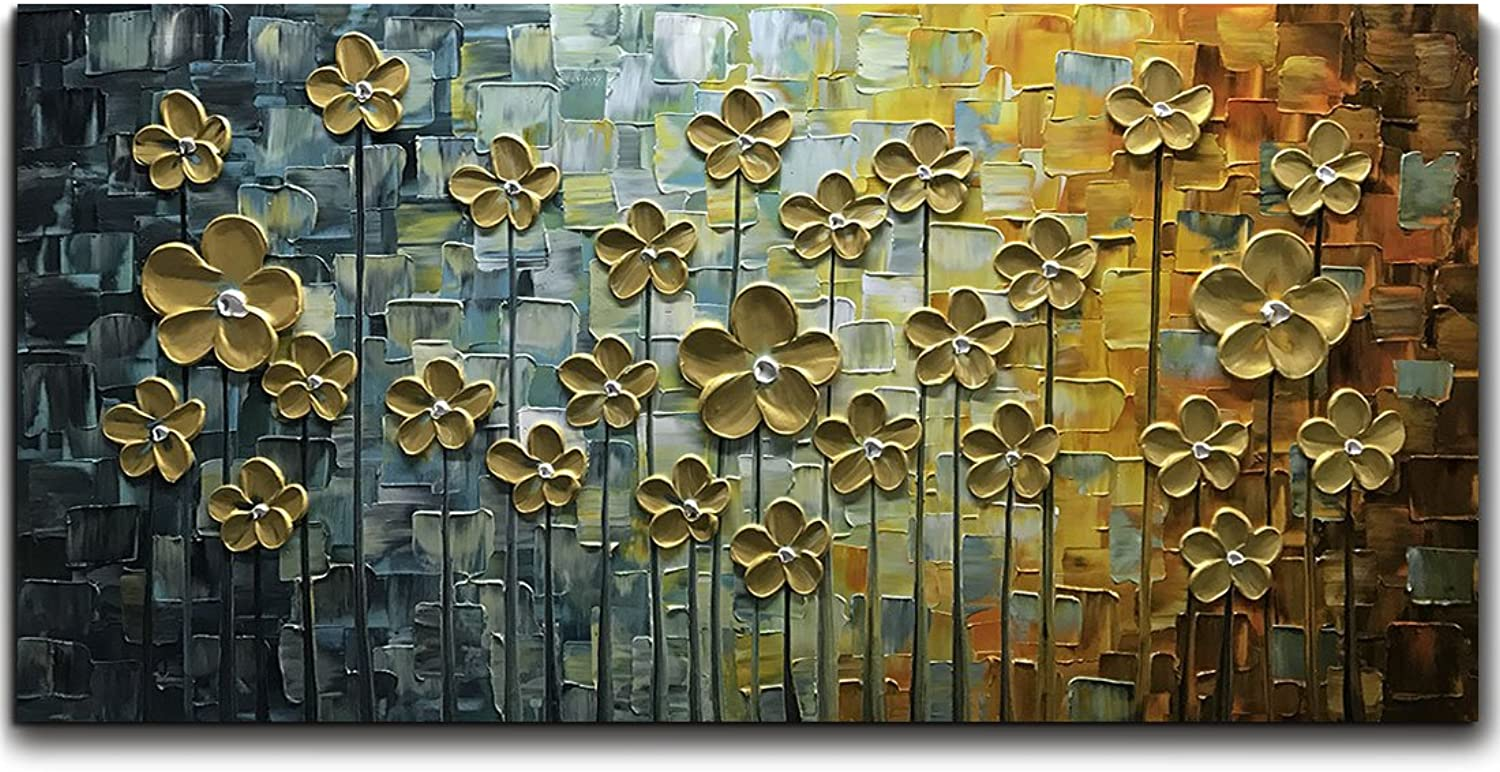 V-inspire Art, 20X40 Inch gold Daisy Oil Paintings on Canvas Budding Flowers Art 100% Hand-Painted Abstract Artwork Floral Wall Art livingroom Bedroom Dinning Room Decorative Pictures Home Decor
