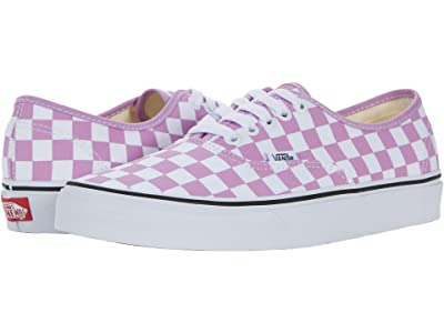 Vans Authentic ((Checkerboard) Orchid/True White) Skate Shoes