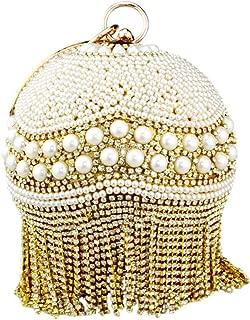 Tassel Fashion Women Pearl Beaded Crystal Party Evening Bag Bridal Wedding Round Ball Wrist Bag Round Clutch Purse Handbag-In Top,Gold