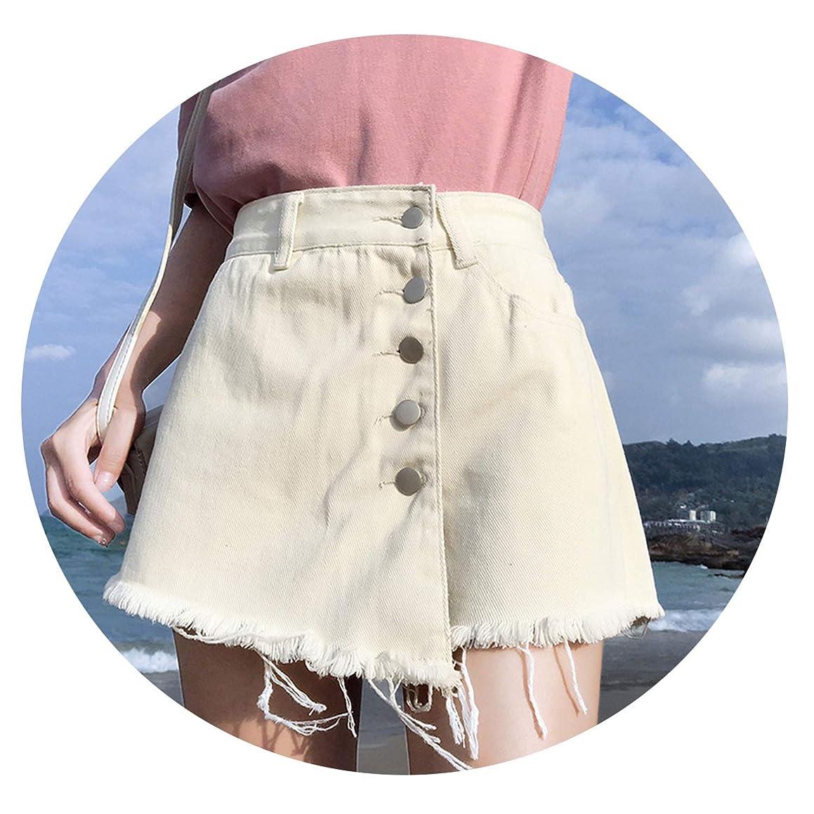 BoomNana Skirt Denim Shorts White High Waist Female Loose Women's Summer Shorts Jeans Button