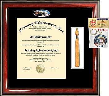 University of North Carolina Greensboro Double Diploma Display UNCG Campus Fisheye Photo Two School Major Certificate Emboss College Holder
