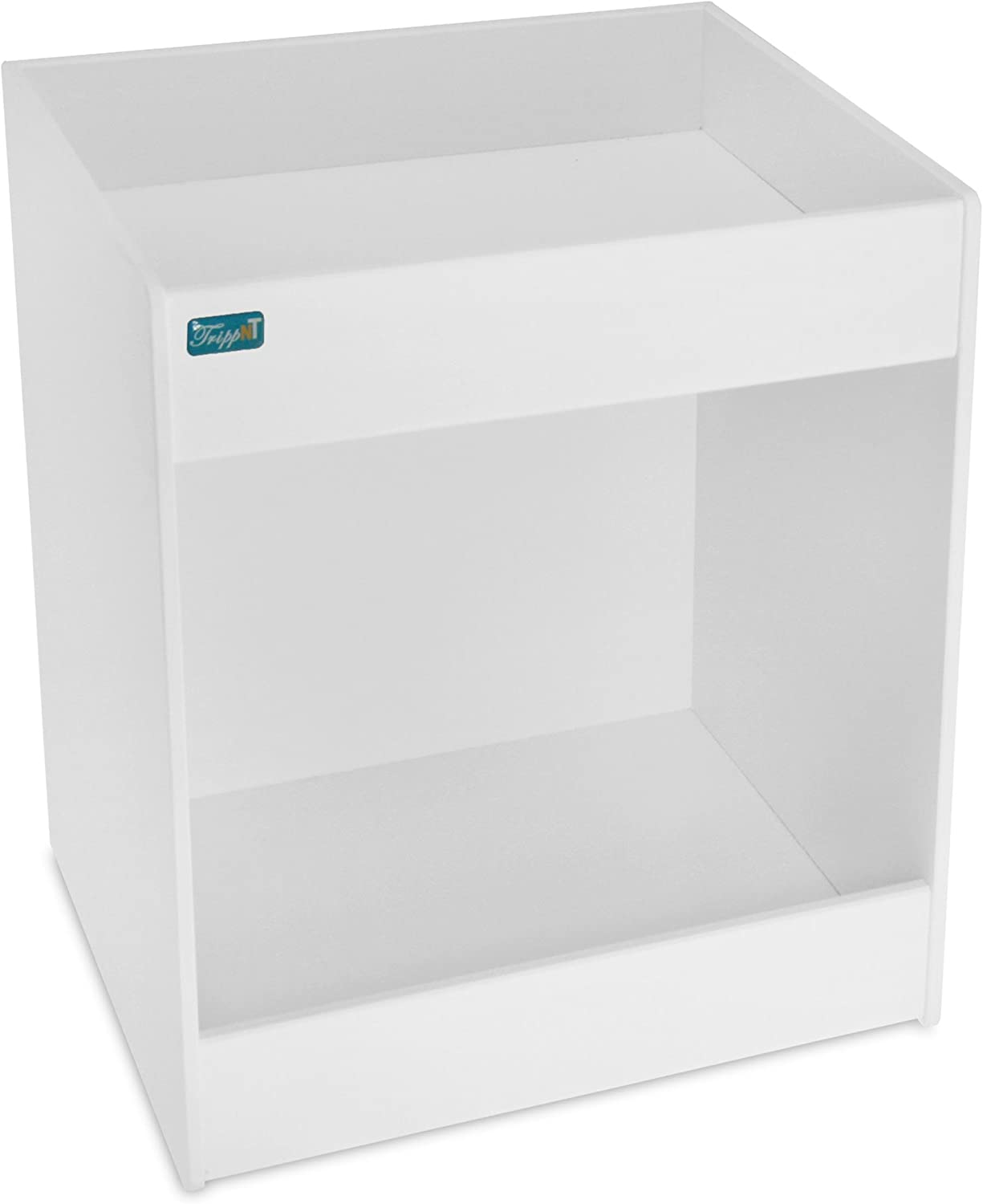 TrippNT 50155 PVC Angled Double Safety Shelves, 12-Inch Width x 16-Inch Height x 9-Inch Depth, White