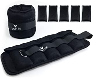 Virtee Adjustable Ankle Wrist Weights 1-5 lbs with Removable Weight for Jogging, Walking, Gymnastic, Workout, 0.5-2.5 lbs Each Pack, 2 Pack