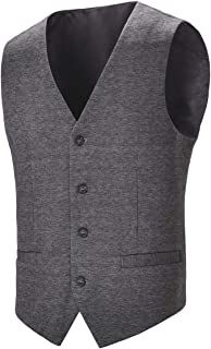 BOTVELA Mens Casual Dress Vest 4 Button Waistcoat