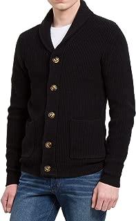 Men Shawl Collar Front Pockets Single Breasted Long Sleeves Cardigan