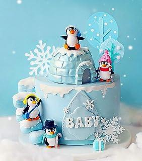 JeVenis 14 PCS Winter Penguin Cake Decoration Winter Onederland Cake Decoration Snowflake Cake Decoration Winter Onederlan...