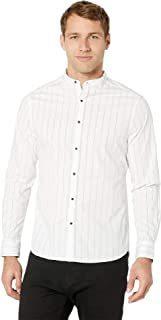 Mens Long Sleeve Pinstripe Collarband Shirt