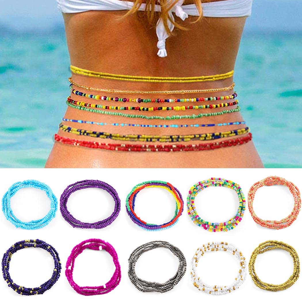 Navoky Beads Waist Chain 10Pcs Colorful Elastic Belly Body Chains Summer Beach Jewelry Accessories for Women and Girls (style 4)