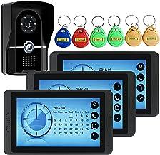 Videodeurbel, intercom, bekabelde 7-inch videodeurtelefoon voor huisbeveiliging, 3 touchscreenmonitoren + IR-nachtzichtcam...