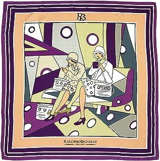 Ruggiero Bignardi Vanità e Beltà - Foulard donna viola 90x90cm twill 100% seta. Prodotto artistico disegnato a mano. Made ...