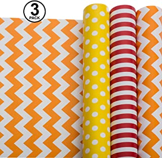 Wrapping Paper - All Occasion Wrapping Paper Bundle – Bright Wrapping Paper – Polka Dot, Stripe, Chevron – (Pack of 3, 30in x 120in per roll, 3 Bows, 2 Ribbons Included)