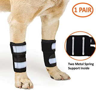 NeoAlly Dog Canine Front Leg Compression Braces Super Supportive with Metal Spring Strips to Stabilize Dog Front Leg Wrist Carpal, Prevents Leg Injuries & Sprains
