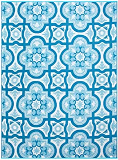 Smart Design Reversible Outdoor/Indoor Plastic Rug/Mat, Easy to Clean and Fold,Perfect for RV,Deck,Patio,Camping,Pianic and Beach-(Blue,8x10)