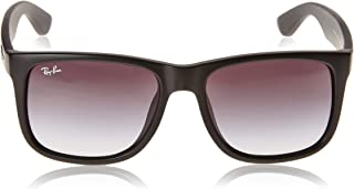 RAY-BAN RB4165F Justin Rectangular Asian Fit Sunglasses, Rubber Black/Grey Gradient, 55 mm