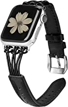 TOYOUTHS Leather Band Compatible with Apple Watch Band 38mm 40mm Rose Gold iWatch Womens Mens Strap Slim Wristband Leisure Replacement Bracelet Series 5 4 3 2 1 Edition, Black