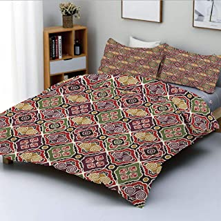 Duplex Print Duvet Cover Set Twin Size,Traditional Antique Motifs Eastern Exotic Pattern Asian Accents Vintage Oriental DecorativeDecorative 3 Piece Bedding Set with 2 Pillow Sham,Multicolor,Best Gift