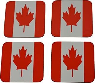Canada Flag Drink Coaster Set Gift For Canadians Maple Leaf Home Kitchen Bar Barware