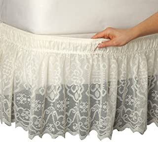 Collections Etc Lace Trimmed Elastic Bed Wrap, Easy Fit Dust Ruffle Bedskirt, Ivory, Queen/King