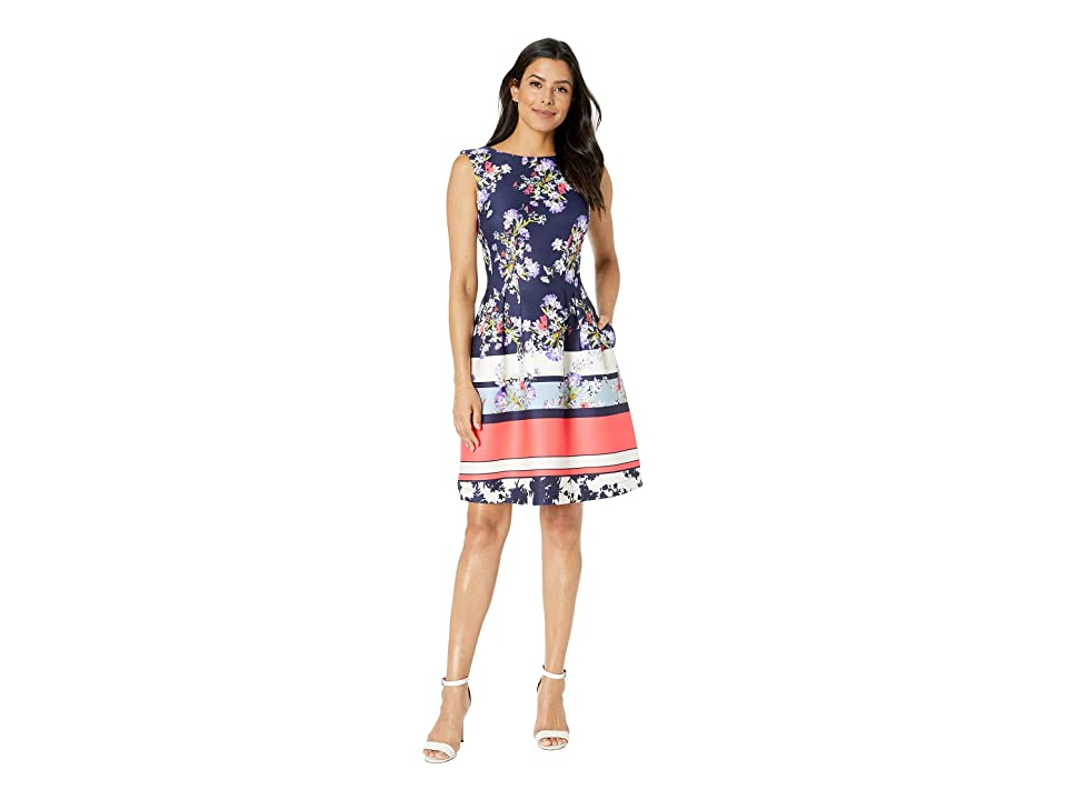 Taylor Floral Fit and Flare Dress (Navy/Cayman Blue) Women