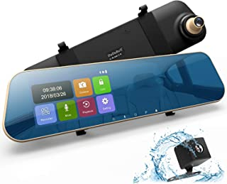 """Mirror Dash Cam, DuDuBell 4.3"""" Car Dash Camera Touch Screen 1080P 290° Wide Angle Backup Camera, Dual Dashboard Recorder with 6G Enhanced Night Vision, HDR"""