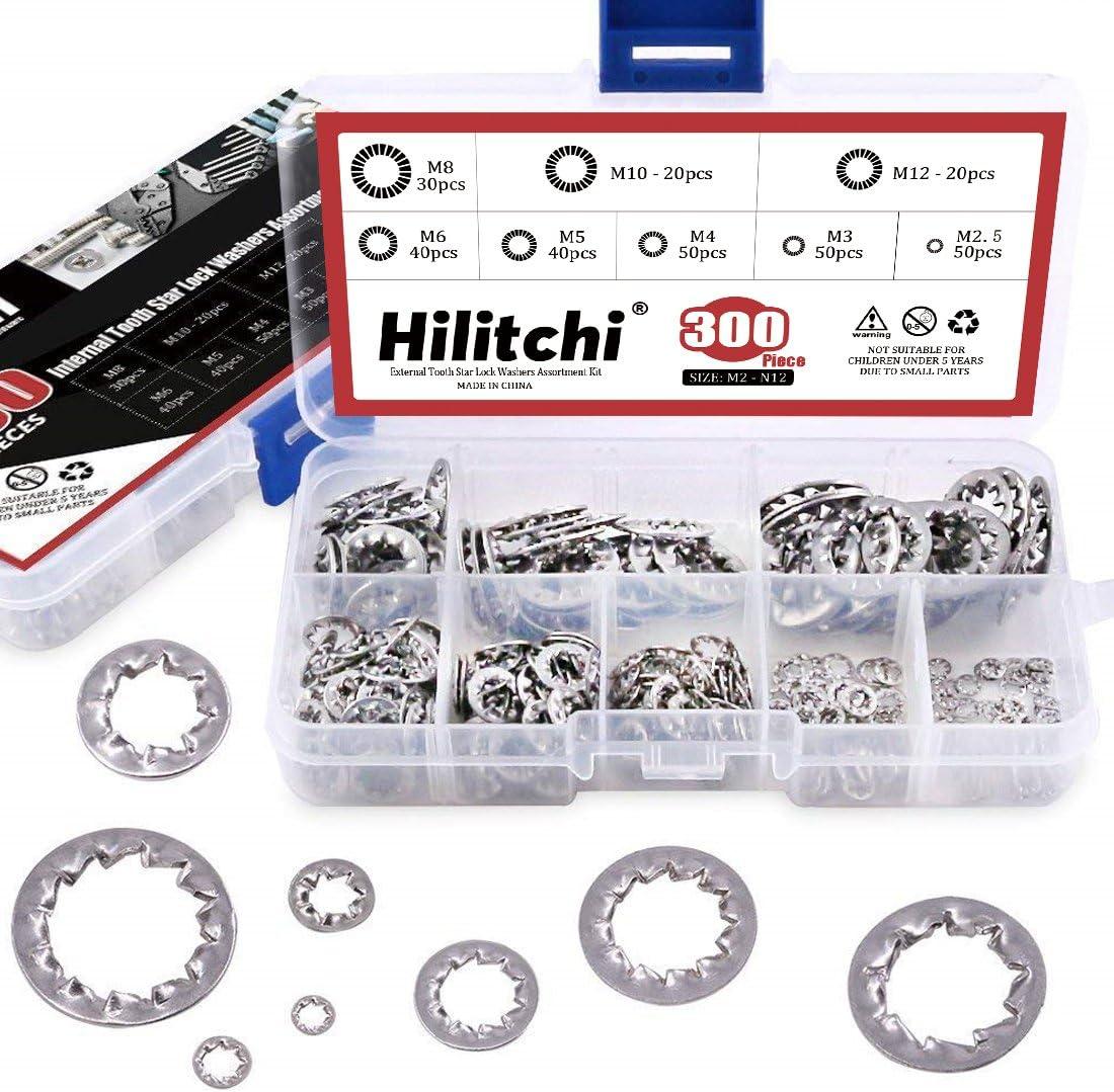 Hilitchi 300-Pcs 304 Stainless Steel Tooth Popular popular Internal Star Lock Wa Max 59% OFF
