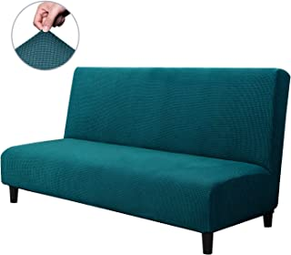 CHUN YI Armless Sofa Slipcover Elastic Fitted Full Folding Sofa Bed Cover Without Armrests,Removable Machine Washable Non-Slip Furniture Protector for Futon Couch Bench (Sofa, Teal)