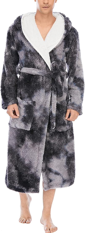 Men's Big Hooded Bathrobe Nightgown Homewear Coral Fleece Sleepwear Soft Comfy Pajamas Pjs with Belt Pockets