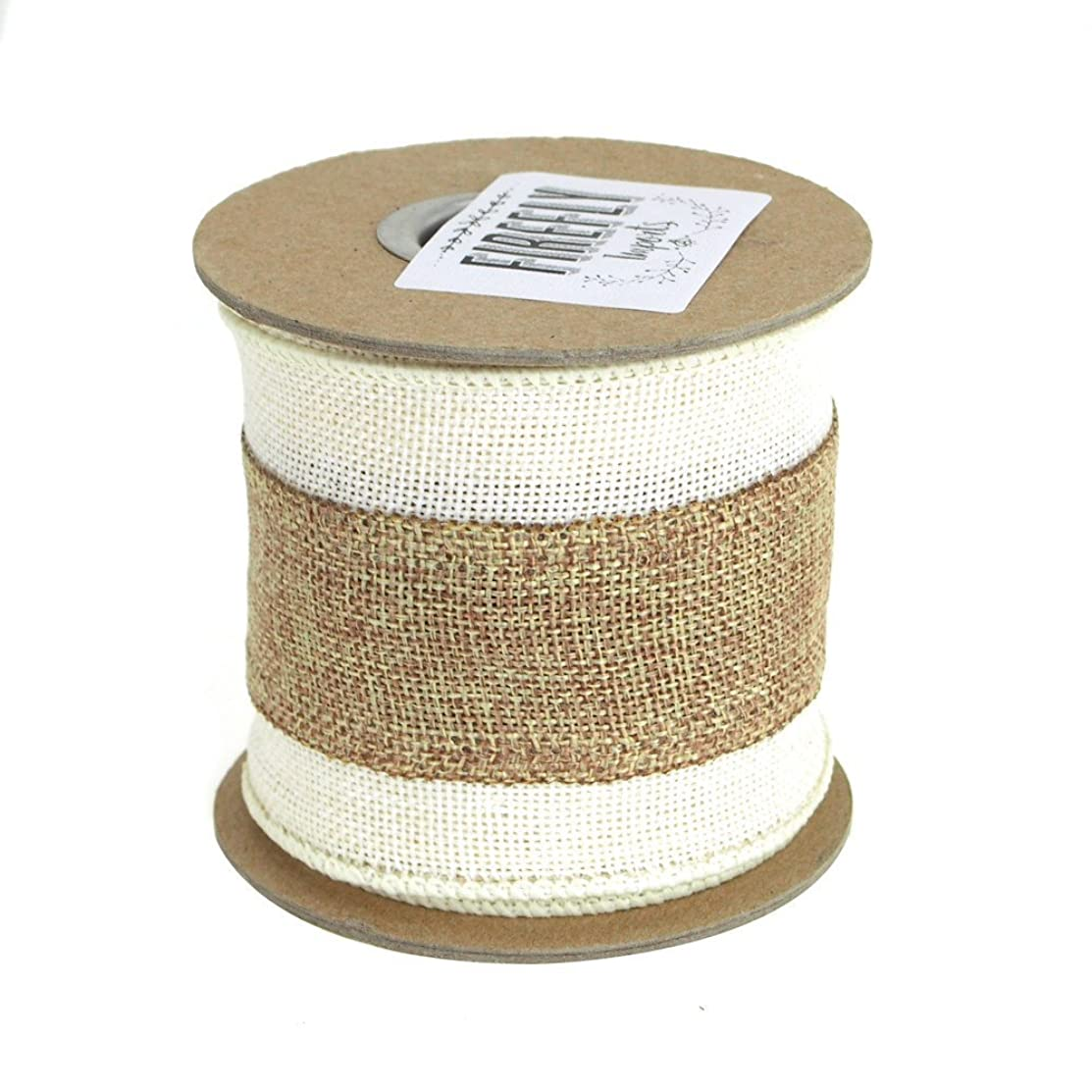 Homeford FAM0000015628623 Faux Burlap with Natural Center Wired Edge Ribbon, 3