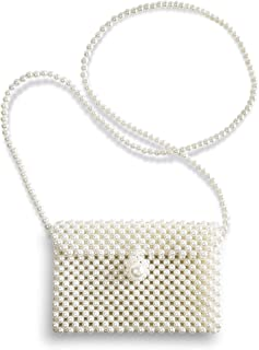 Beaded Pearl Flap Shoulder Acrylic Evening Bag for Women & Girls