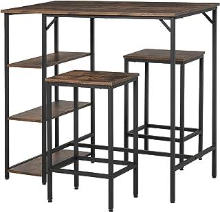 HOMCOM Set de Mesa de Bar y 2 Taburetes con Reposapiés y Estantes de 3 Niveles Almohadillas Ajustables para Cocina Comedor...