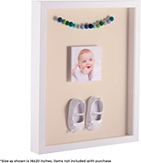 ArtToFrames 24 x 30 Inch Shadow Box Picture Frame, with a Satin White 1'' Shadowbox Frame and Alabaster Mat
