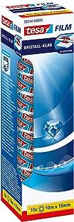 tesa Plakband - Kristalheldere plakbandrollen - Hoogwaardige kwaliteit - Transparant - 10 stuks - 10 m x 15 mm