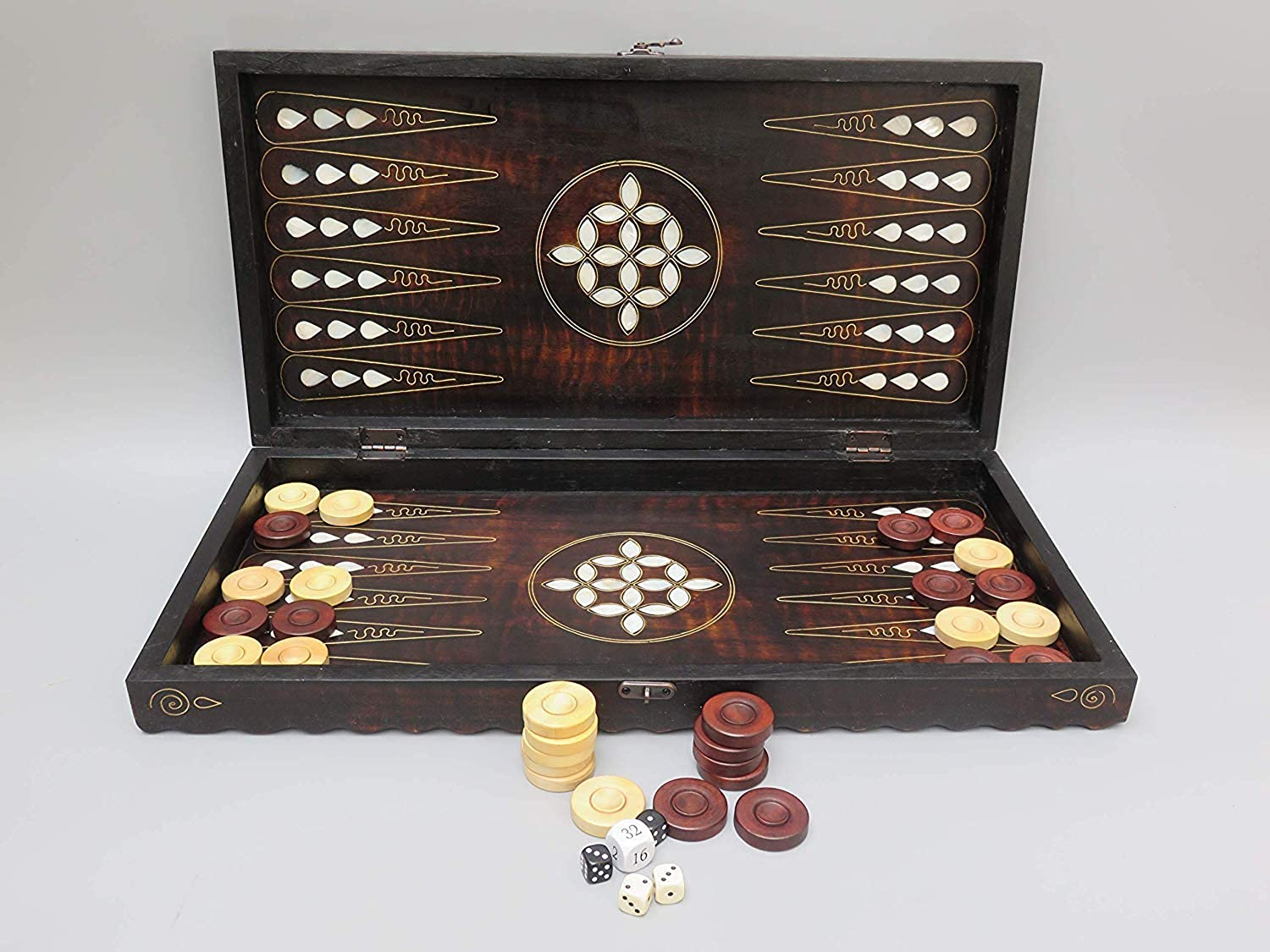 Chessgammon BACKGAMMON SET INLAID MOTHER OF PEARL INTARSIA FOLDABLE STORAGE HANDMADE WOODEN BOARD TRADITIONAL ADULTS OR KIDS FAMILY OUTDOOR TRAVEL HOLIDAY GAME WITH DOUBLING DICES
