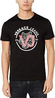 Versace Mens Logo Graphic T-Shirt, Black, Medium