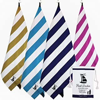 Flush Decker Oversized 35 inch X 78 inch XXL 100% Microfiber Quick-Dry, Sand Free Stripe Cabana Beach Towel Hot Pink