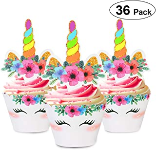 Unomor Unicorn Cupcake Topper and Wrappers, Double Sides Rainbow Cup Cake Liners with Unicorn Topper Cute Cake Decorations Party Supplies for Girl Birthday Party, Baby Shower, Set of 36