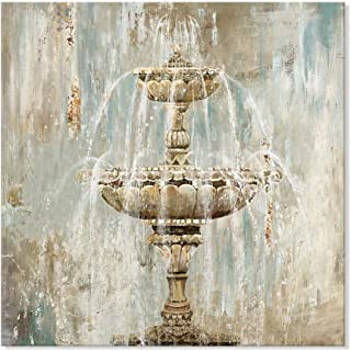 SEVEN WALL ARTS- Vintage Abstract Fountain Canvas Print Decorative Giclee Artwork Ready to Hang for Bathroom Home Office Decor Gift 24 x 24 Inch
