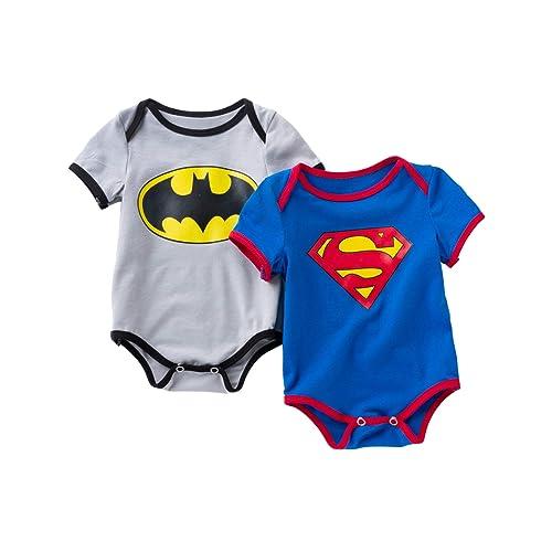 b9d34e02baa2 D.B.PRINCE Newborn Baby Boys Girls Superman Short Sleeve Bodysuit Romper  Outfits