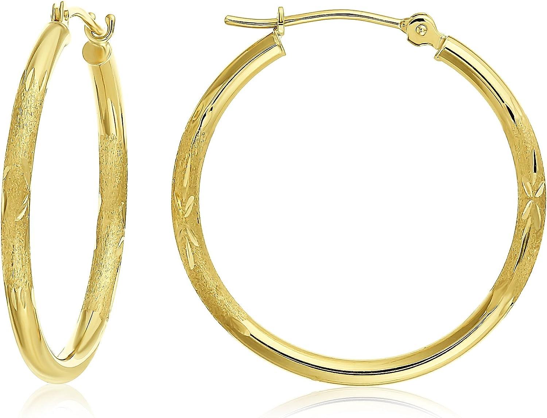 TILO JEWELRY 14k 公式サイト 休日 Gold Diamond-Cut 1'' Earrings Diame Round Hoop