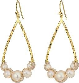 Chan Luu - 18 Karat Gold Plated Teardrop Freshwater Pearl Earrings with Velvet Piping