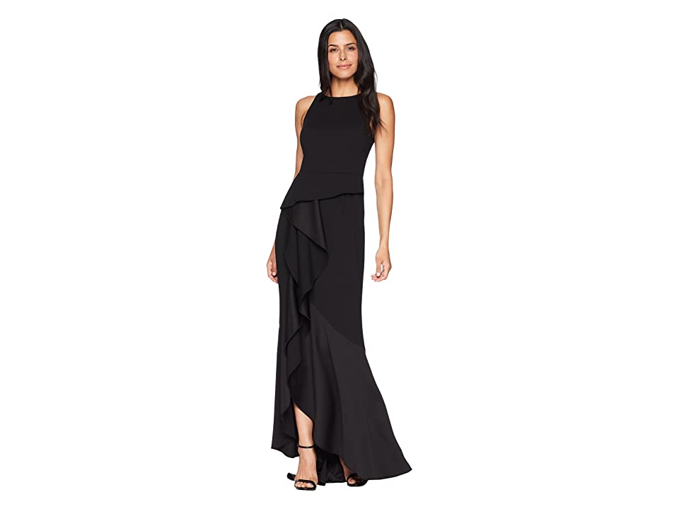 Adrianna Papell Sleeveless Long Knit Crepe Gown with Cascade Skirt Detail (Black) Women