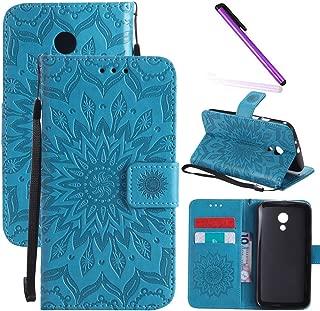 Motorola Moto G2 Case LEECOCO Embossed Floral Wallet Case with Card Cash Holder Slots Wrist Strap [Kickstand] PU Leather Flip Slim Case Cover for Motorola Moto G (2nd Generation) Mandala Blue