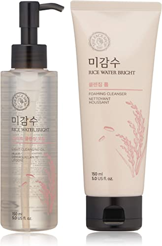 The Face Shop Rice Water Bright Cleansing Foam (150 Ml/5.0 Oz) & Light Cleansing Oil (150 Ml /5 Oz) Set, Moisturizing And Brightening Care For All Skin Types product image
