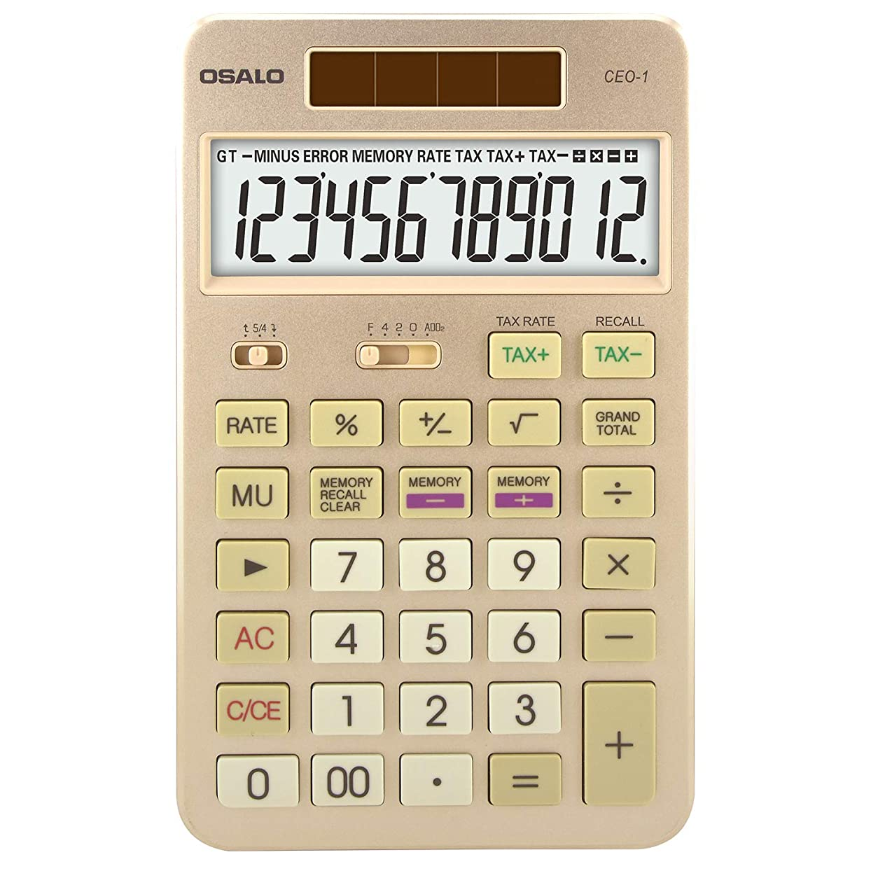 逸話気難しい半ばPendancy 特大ディスプレイ 12桁 電子税金機能計算機 ゴールド