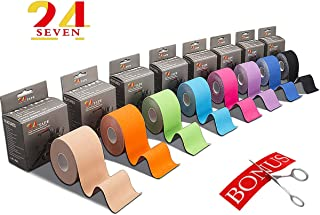 Kinesiology Tape 24/7 Therapeutic Tape for Muscles, Knee, Shoulder & Elbow, Pain Relief, Injury Recovery, Waterproof & Latex Free, 2