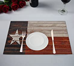 Custom Texas Star Flag Table Placemat,Texas Star Flag Table Placemat Food Mat 12x18 Inch Non Slip Table Linen 2 Pieces