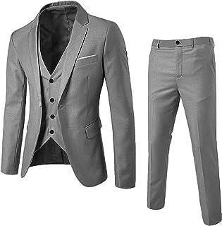 NTNY3 Abito Uomo Elegante Completo Slim Fit 3 Pezzi Blazer Uomini Pantaloni + Giacca + Gilet