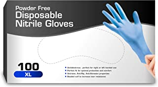Nitrile Gloves, Disposable Gloves, Comfortable, Powder Free, Latex Free | 100 Pcs (XL) color may vary