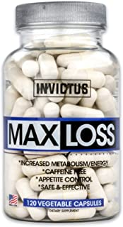 MaxLoss - All-Natural Ingredients Including Green Tea Extract, Berberine, Konjac Root, Weight Loss, Appetite Suppressant for Men & Women, Stimulant Free - 120 Capsules, One Month Supply